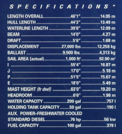 Hunter 460 Specifications